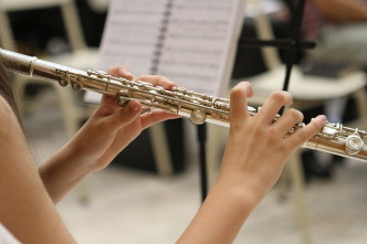 Flautist playing flute